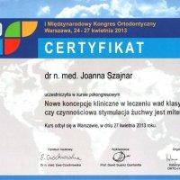 Certyfikat - Międzynarodowy Kongres Ortodontyczny