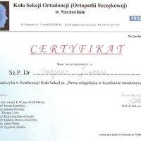 Certyfikat - konferencja Koła Sekcji Ortodoncji w Szczecinie