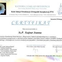 Certyfikat - konferencja Koła Sekcji Ortodoncji PTS, PAM w Szcz