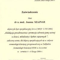 Zaświadczenie kursu specjalizacyjnego - PAM Szczecin