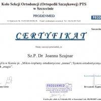 Certyfikat - konferencja Koła Sekcji Ortodoncji PTS w Szczecini