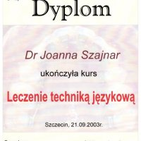Dyplom ukończenia kursu - Katedra i Zakład Ortodoncji PAM