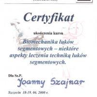 Certyfikat ukończenia kursu PTS, Sekcja Ortopedii Szczękowej,
