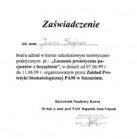 Zaświadczenie - Zakład Protetyki Stomatologicznej PAM