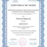 Ochrona radiologiczna pacjenta - Certyfikat egzaminu