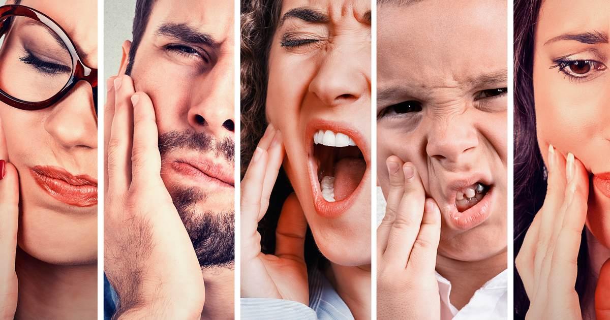 Cierpiące twarze z powodu bólu zęba