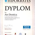 Dyplom za zajęcie III. miejsca w plebiscycie Hipokrates