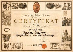 Certyfikat Okręgowej Izby Lekarskiej