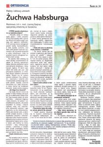 Artykuł w gazecie: Rozmowa z dr n. med. Joanną Szajnar, specjalistą ortodontą. Kurier Szczeciński, dodatek specjalny Zdrowie, kwiecień 2009